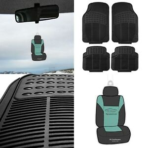 4pc Universal Floor Mats For Auto Car Suv All Weather Black Set W free Freshener