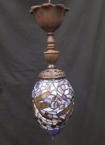 Vintage Dragonfly Design Stained Glass Oval Ceiling Fixture Chandelier