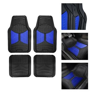 Universal Fitment Floor Mats For Auto Car Suv Van No Slip Rubber Blue Black