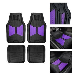 Universal Fitment Floor Mats For Auto Car Suv Van No Slip Rubber Purple Black