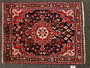 2x3 Antique Black Persian Rug Hand Knotted Iran Wool Rugs Red Woven Sarouk 2x2