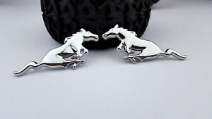Metal Silver Pony Running Horse 3d Emblem Badge Car Decal Sticker Ford Mustang