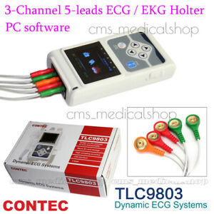 Contec 3 Channel Holter Ecg System pc Software 24 Hours Recorder fda ce Approved