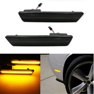 Smoke Fit 08 14 Dodge Challenger 11 14 Charger Turn Signal Lamps Amber Led Light