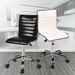 Modern Mid Back Armless Ribbed Office Chair Leather Computer Task Desk Seat Home