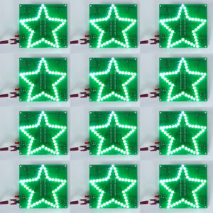 10pcs Colorful Glittering Five pointed Star Water Light Led Diy Kit W Shell