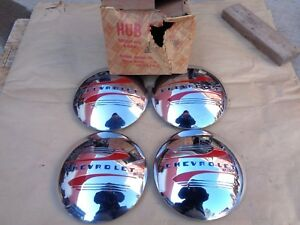 Nos 1941 1948 Chevy Hub Caps Original Gm Set Of 4 Hubcaps Fleetline Pickup Truck