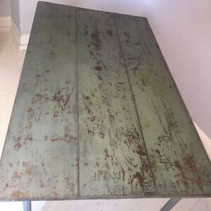 Antique Wood Table Original Blue Paint Metal Legs That Screw Off On Primitive