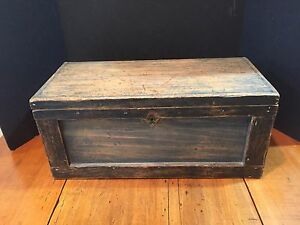 Antique Blue Painted Wooden Chest Box Trunk