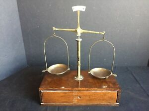 Antique Apothecary Balance Scale With Weight Set
