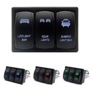 3 Gang Rocker Switch Panel Circuit Breaker Blue Led Light For Rv Car Marine Boat