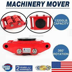 Machinery Mover With 360 rotation Cap 13200lbs 6t 4 Rollers Dolly Skate Us Dc