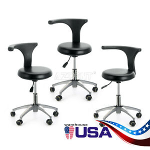 Us 3 X Dentist Doctor Assistant Stool Adjustable Mobile Chair Pu Hard Leather