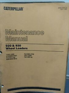 Caterpillar Cat 920 930 Wheel Loader Maintenance Manual