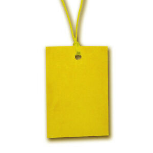 Yellow Stringed Card Clothing Tags 60mm X 40mm pack Of 500