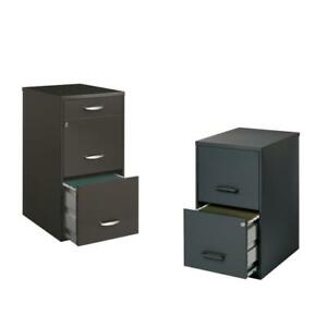 Value Pack set Of 2 Drawer Filing Cabinet In Black And Charcoal