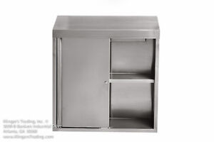15 x60 x39 h Stainless Steel Wall Cabinet With Locking Sliding Doors