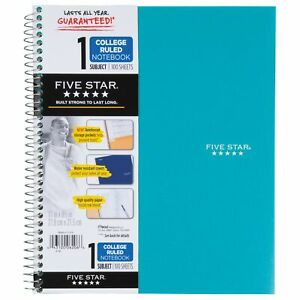 Five Star Spiral Notebook 1 subject 100 College ruled Sheets 11 X 8 5 Inch