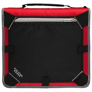 Five Star 2 Inch Zipper Binder Expansion Panel Durable Red Gray 29052be7