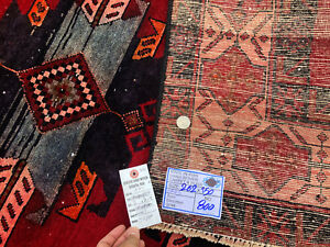 5x8 Persian Rug Caucasian Hand Knotted Iran Antique Rugs 1800s Oriental Red 5x9
