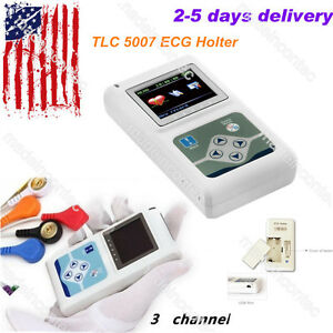 Ecg ekg Holter System 3 Channel 24 Hours Recorder Monitor pc Software Usa Fedex