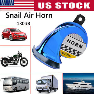 Universal 130db 12v Motorcycle Truck Loud Snail Air Horn Siren Waterproof Blue
