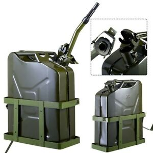 5 Gallon 20l Gas Jerry Can Fuel Steel Tank Military Green With Metal Holder New