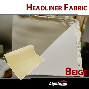 Beige Fabric Foam Material Headliner Ceiling Upholstery Durable Mat 10ftx5ft