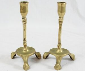 Antique English Brass 6 75 Candlestick Pair Tripod Base England