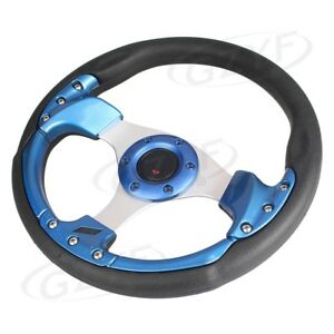 1pc 13 Universal Pu Leather Stitching Sport Car Racing Steering Wheel Blue