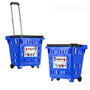 Small Store Cart High Handle Plastic Basket Durable Wheels Shopping Goods Holder