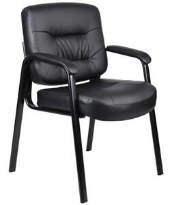 Boss Office Products B7509 Executive Mid Back Leatherplus Guest Chair In Black