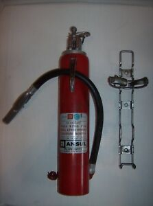 Vintage Ansul Dry Chemical Fire Extinguisher Plus Fifty Model 5 Mounting Bracket
