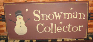 Primitive Country Snowman Collector 12 Sign Burgundy Snowman