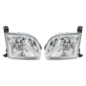 Fits 2000 2004 Toyota Tundra Pair Head Lights Driver And Rh Except Double Cab