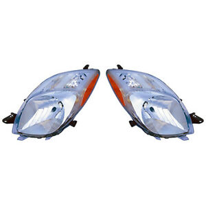 Fits 2006 2008 Toyota Yaris Pair Head Lights Driver And Rh 2dr Hatchback