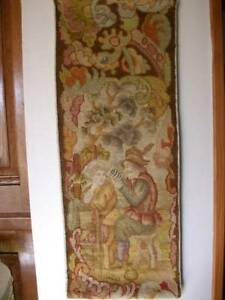 French Antique Tapestry Handwoven 19th Century Wall Panel