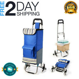 Upgraded_folding_shopping_cart_stair_climbing_cart_grocery_laundry Utility Cart