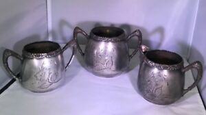 Set Of Vintage Connecticut Silver Plate Company Tea And Coffee Dish Silverplate