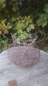 Primitive Antique French Wire Egg Basket