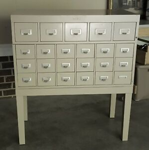 Shaw Walker Vintage File Card Cabinet Tan 1950s 60s Three Pieces 23 Drawers
