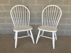 New Country Ethan Allen Pair Of Hoop Back Side Chairs Cirrus White Finish 750