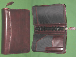 Portable 1 0 Brown Leather Day Timer Planner Binder Compact Franklin Covey 8158