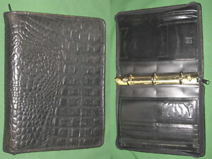 Classic 1 0 Black Reptile Leather Tusk Planner Binder Franklin Covey 9276