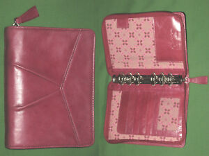 Pocket 1 0 Pink Floral Red Full Grain Leather Franklin Covey Planner Binder