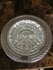 Vintage Wm Rogers Silverplate 10 Relish Tray With Divided Glass Insert 2011
