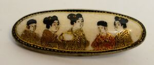 Satsuma Japanese Oval Brooch Hallmarked Shimazu Clan 19th Century Antique Vtg