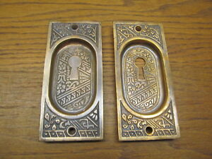 Pair Eastlake Stamped Brass Bronze Pocket Door Escutcheons As Found