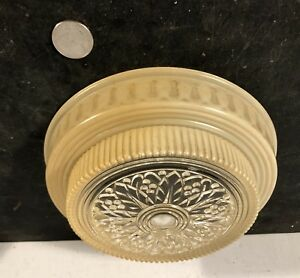 Antique Vtg Art Deco Glass Slipper Shade Bottom Panel Light Fixture Part 2 Tone