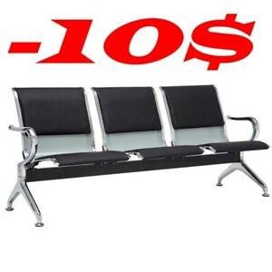 3 Seat Deluxe Pu Cushion Reception Airport Waiting Room Comfortable Bench Chair